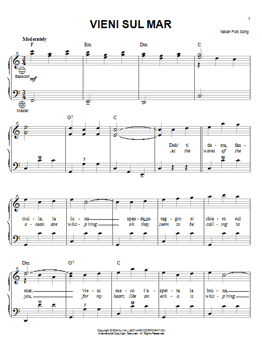 Partition autre Vieni Sul Mar de Italian Folk Song - Accordeon