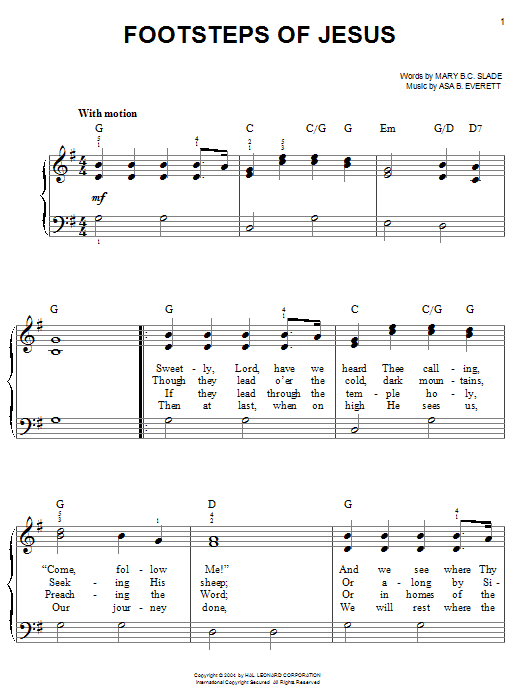 Partition piano Footsteps Of Jesus de Mary B.C. Slade - Piano Facile