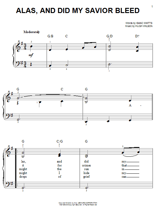 Alas, And Did My Savior Bleed Sheet Music