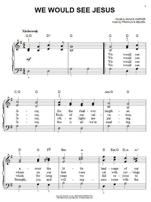 Partition piano We Would See Jesus de Anna B. Warner - Piano Facile