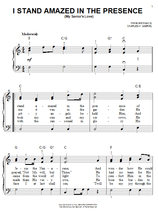 Partition piano I Stand Amazed In The Presence (My Savior's Love) de Charles H. Gabriel - Piano Facile