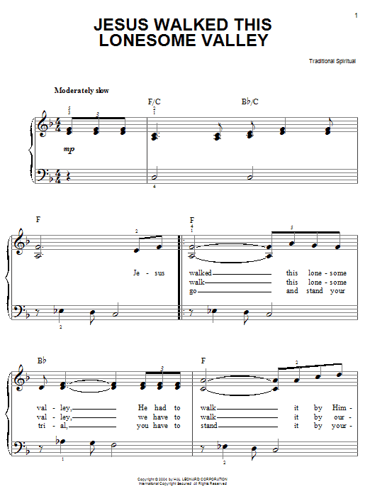 Jesus Walked This Lonesome Valley (Myers) (Easy Piano)
