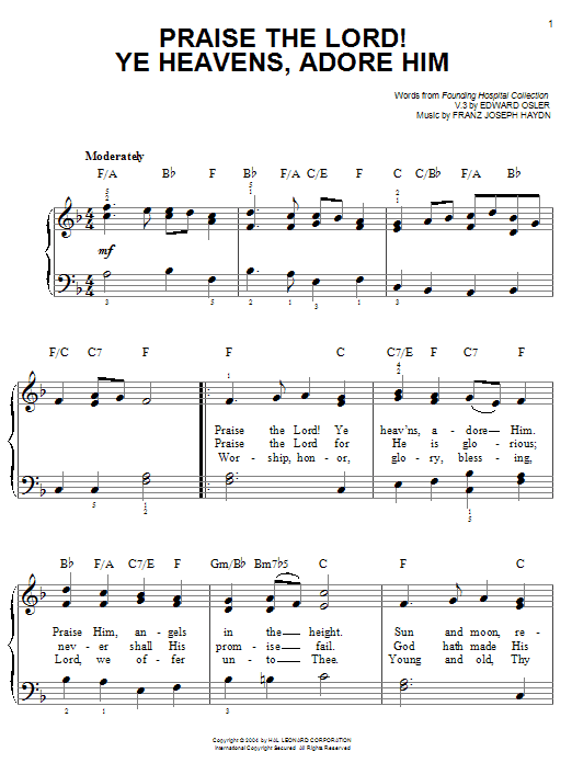 Praise The Lord! Ye Heavens, Adore Him (Easy Piano)