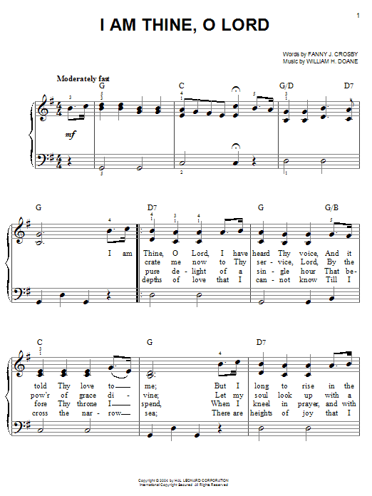 Partition piano I Am Thine, O Lord de Fanny J. Crosby - Piano Facile