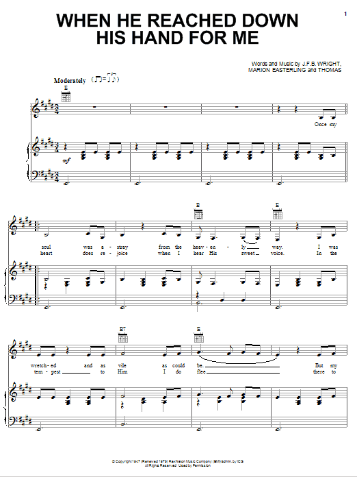 When He Reached Down His Hand For Me Sheet Music