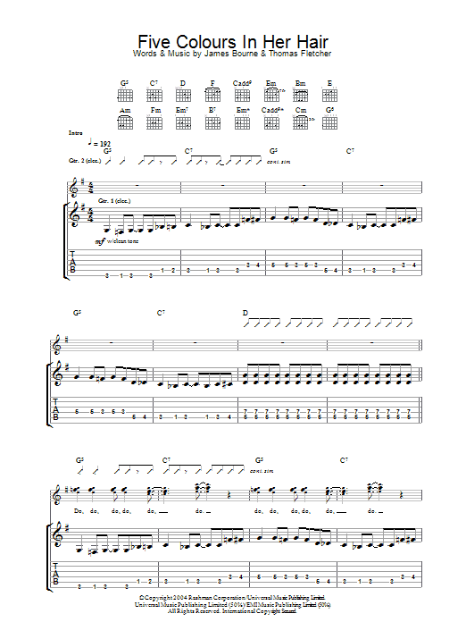 Five Colours In Her Hair (Guitar Tab)