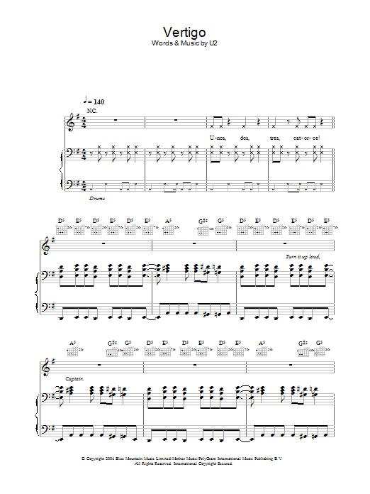 Vertigo (Piano, Vocal & Guitar)