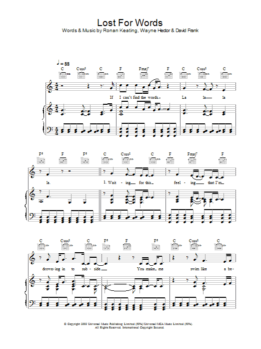 Lost For Words Sheet Music