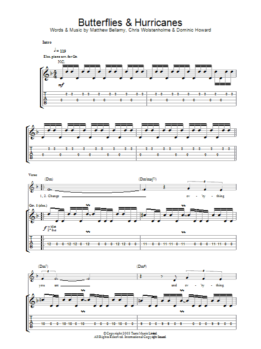 Butterflies And Hurricanes (Guitar Tab)