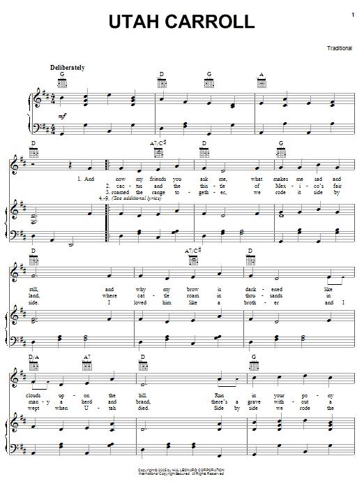 Partition piano Utah Carroll de Traditional - Piano Voix Guitare (Mélodie Main Droite)