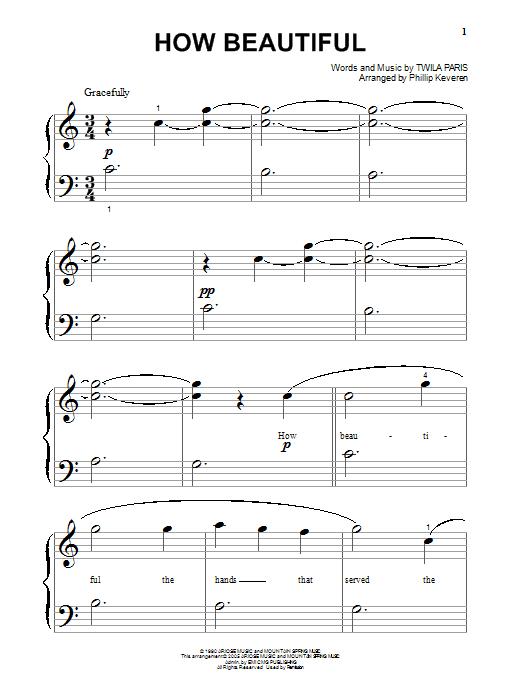 How Beautiful (Big Note Piano)