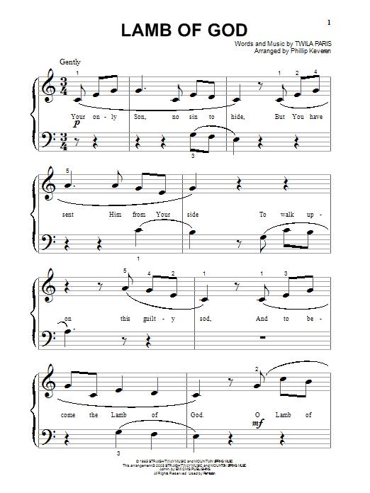 Lamb Of God (Big Note Piano)