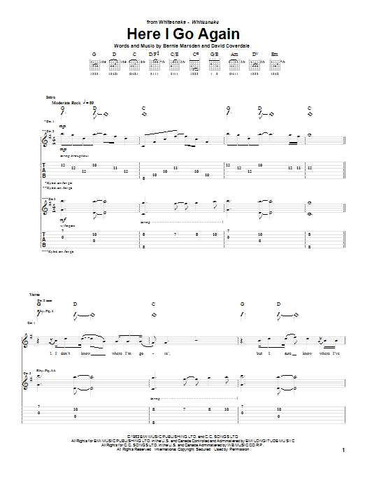 Here I Go Again Sheet Music