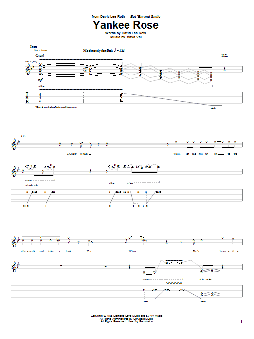 Tablature guitare Yankee Rose de David Lee Roth - Tablature Guitare
