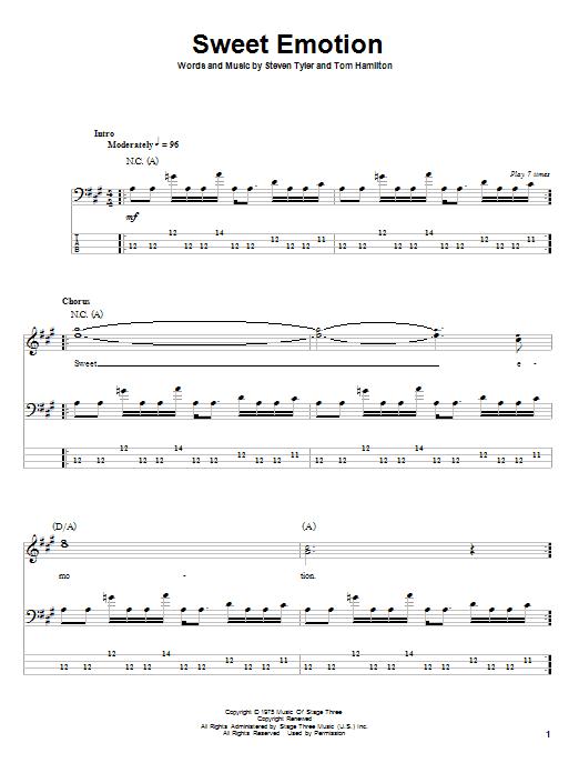 Sweet Emotion by Aerosmith - Bass Tab - Guitar Instructor