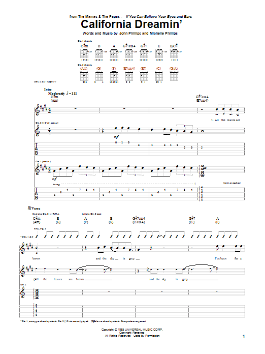 California Dreamin\' by The Mamas & The Papas - Guitar Tab - Guitar ...