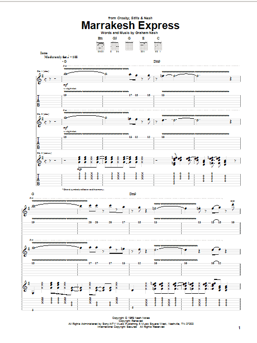 Tablature guitare Marrakesh Express de Crosby, Stills & Nash - Tablature Guitare