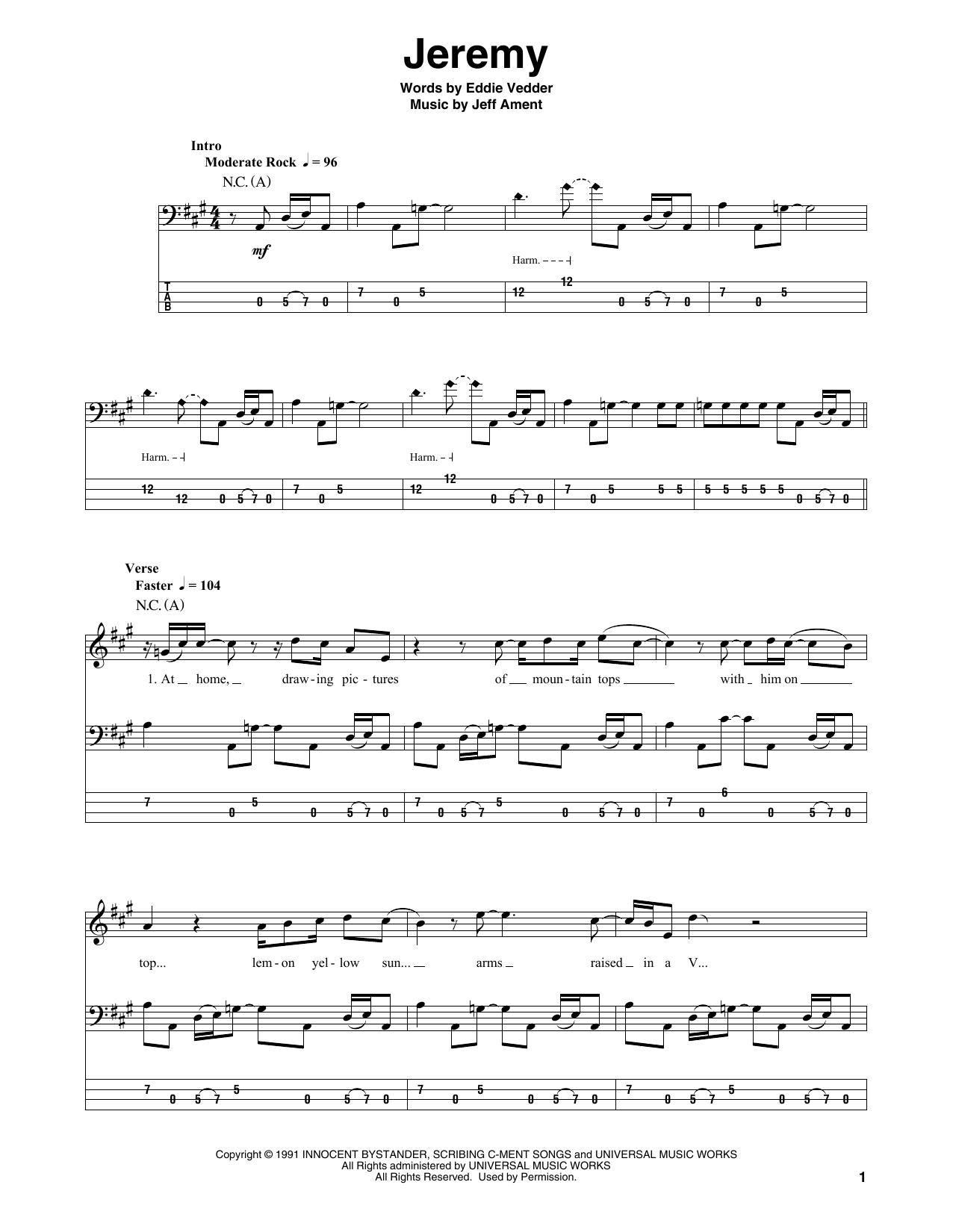 Jeremy (Bass Guitar Tab)