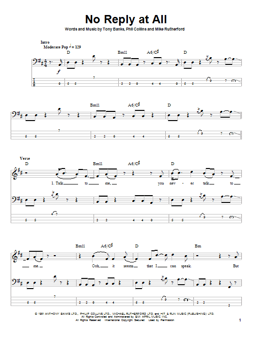 Tablature guitare No Reply At All de Genesis - Tablature Basse