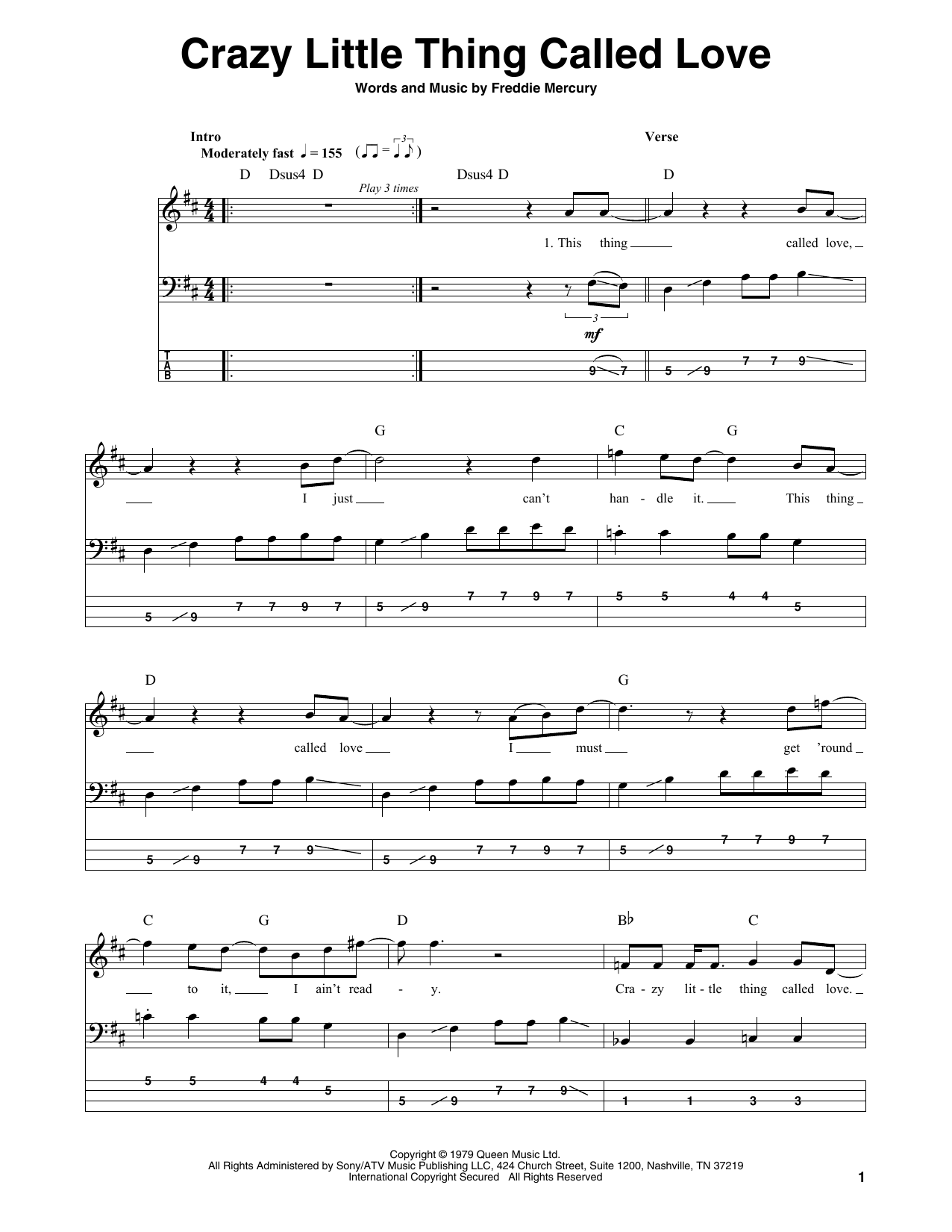 Crazy Little Thing Called Love Sheet Music