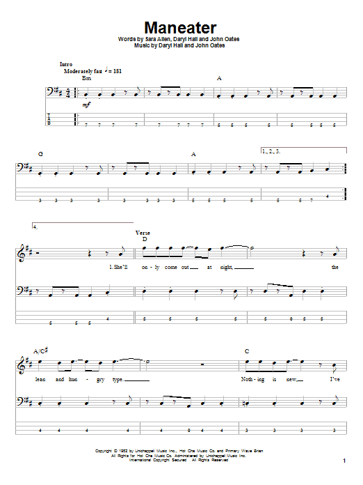 Tablature guitare Maneater de Hall & Oates - Tablature Basse