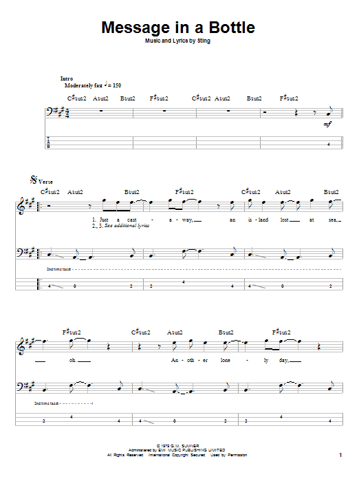 Tablature guitare Message In A Bottle de The Police - Tablature Basse