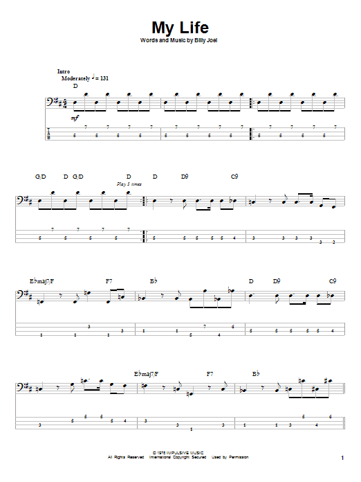 My Life (Bass Guitar Tab)