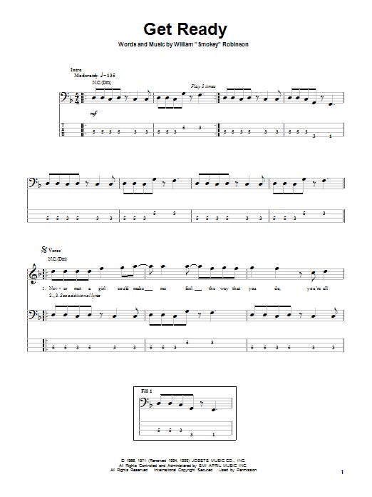 Tablature guitare Get Ready de Rare Earth - Tablature Basse