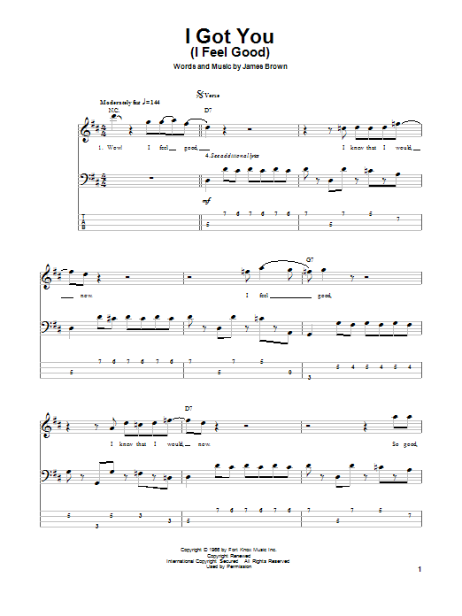 I Got You (I Feel Good) (Bass Guitar Tab)