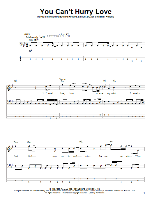 Tablature guitare You Can't Hurry Love de The Supremes - Tablature Basse