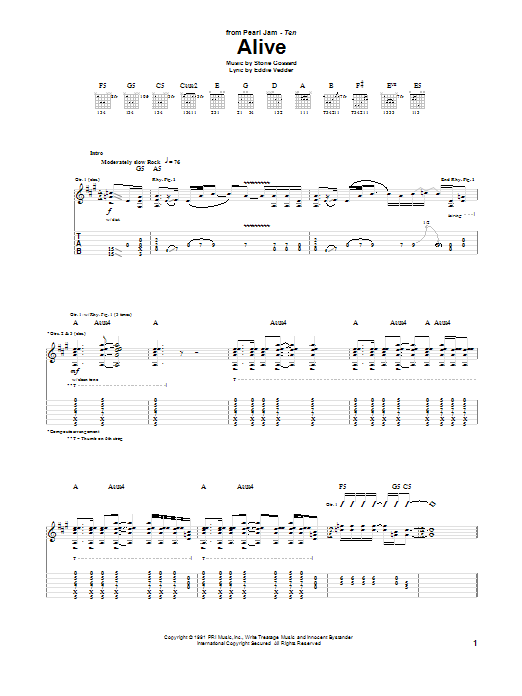 Tablature guitare Alive de Pearl Jam - Tablature Guitare