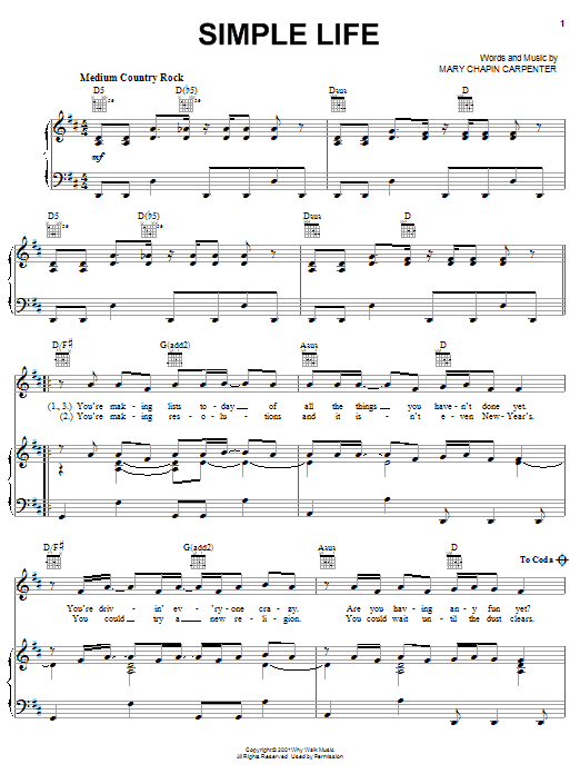 Partition piano Simple Life de Mary Chapin Carpenter - Piano Voix Guitare (Mélodie Main Droite)