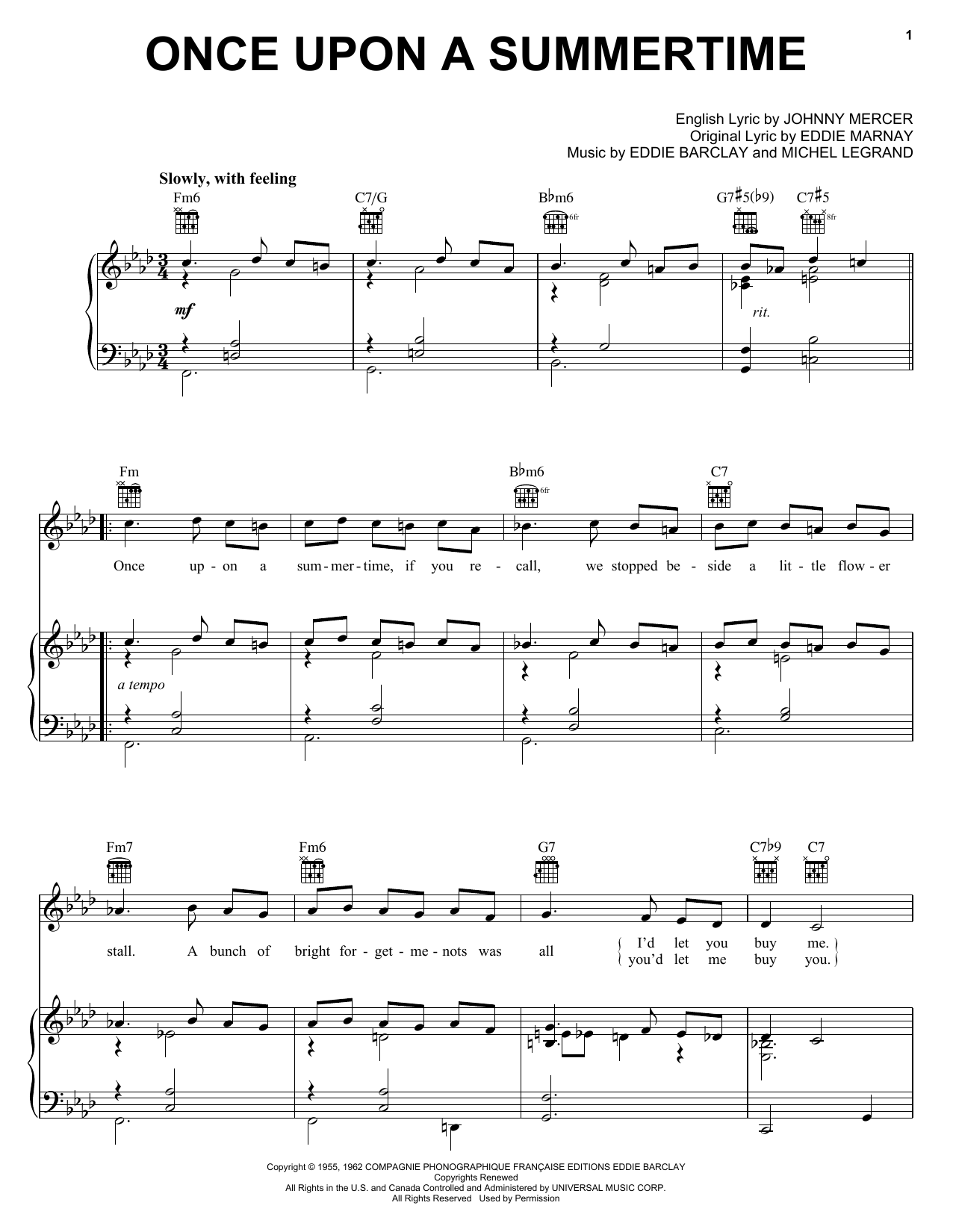 Once Upon A Summertime (Piano, Vocal & Guitar (Right-Hand Melody))