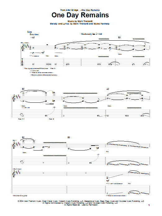 Tablature guitare One Day Remains de Alter Bridge - Tablature Guitare