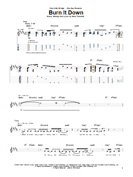 Burn It Down Sheet Music
