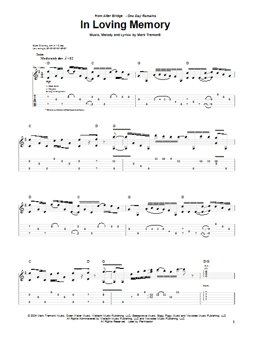 Tablature guitare In Loving Memory de Alter Bridge - Tablature Guitare