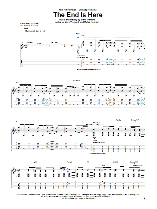 Tablature guitare The End Is Here de Alter Bridge - Tablature Guitare