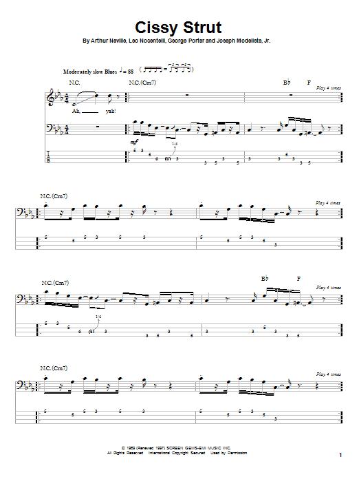 Tablature guitare Cissy Strut de The Meters - Tablature Basse