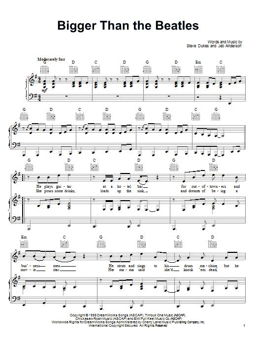 Partition piano Bigger Than The Beatles de Steve Dukes - Piano Voix Guitare (Mélodie Main Droite)