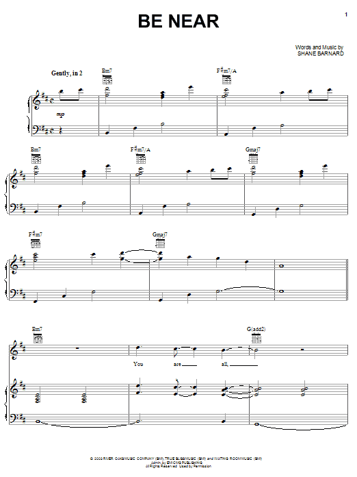 Be Near (Piano, Vocal & Guitar (Right-Hand Melody))