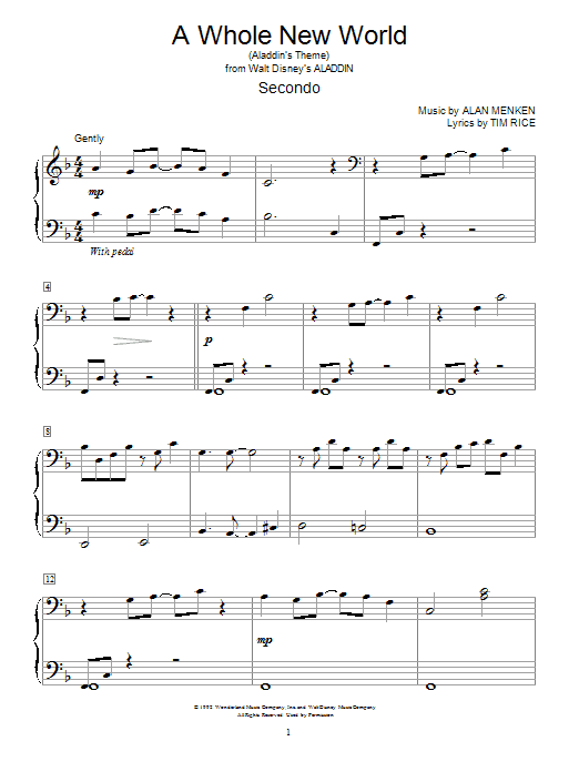 A whole new world from ALADDIN JR sheet music for Piano ...