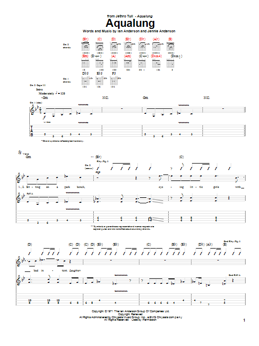 Tablature guitare Aqualung de Jethro Tull - Tablature Guitare