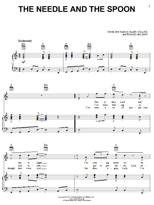 The Needle And The Spoon (Piano, Vocal & Guitar (Right-Hand Melody))