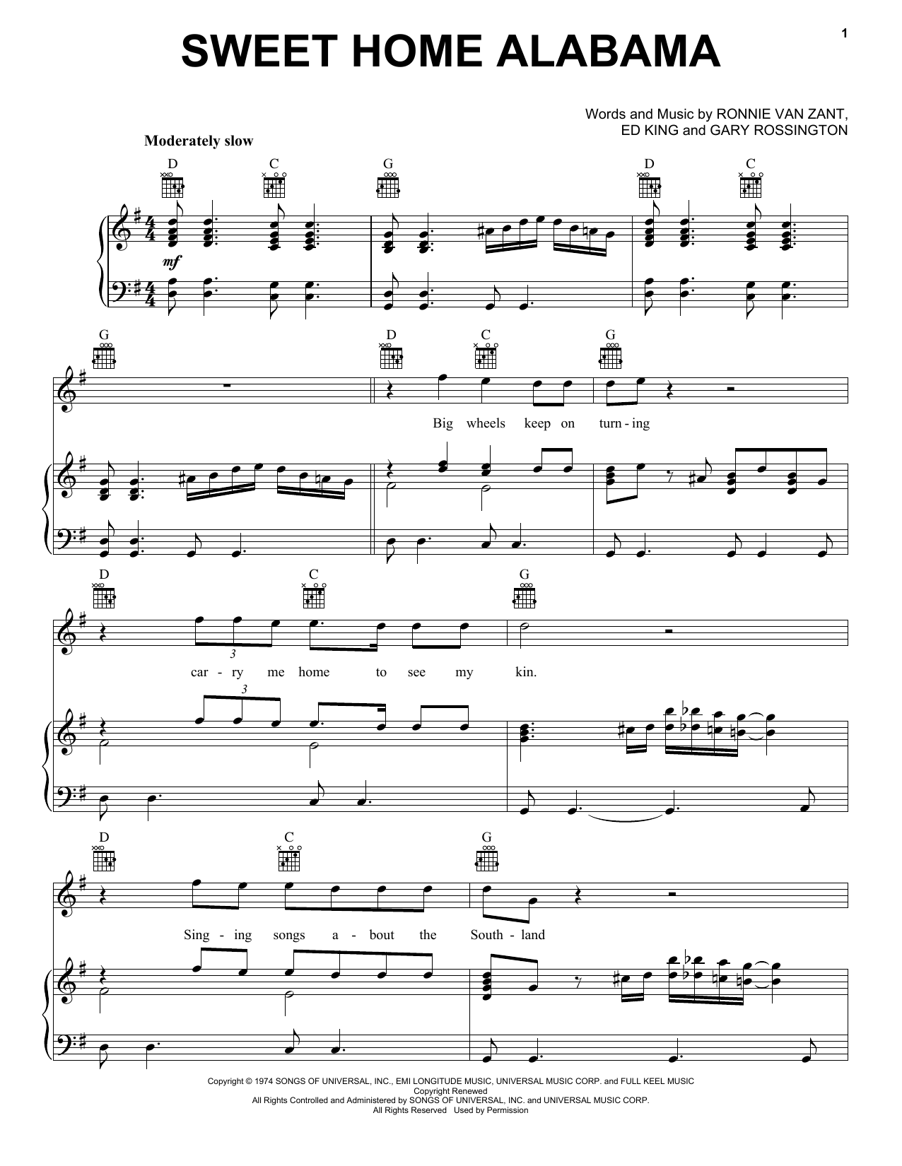 Sweet Home Alabama (Piano, Vocal & Guitar (Right-Hand Melody))