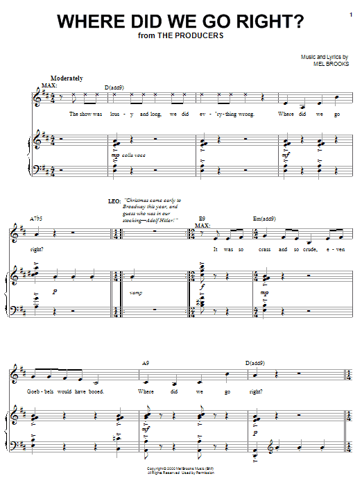 Where Did We Go Right? Sheet Music