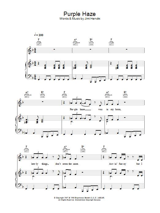 Purple Haze (Piano, Vocal & Guitar)
