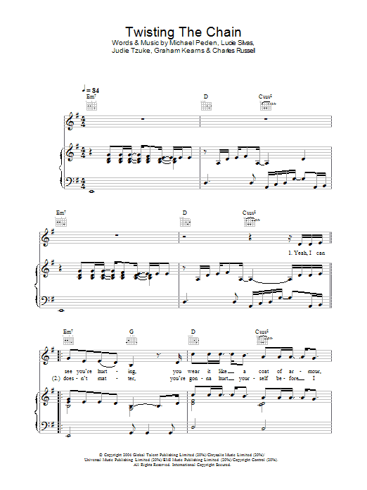 Twisting The Chain (Piano, Vocal & Guitar)