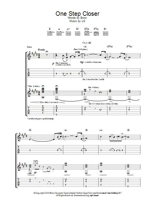 One Step Closer By U2 Guitar Tab Guitar Instructor