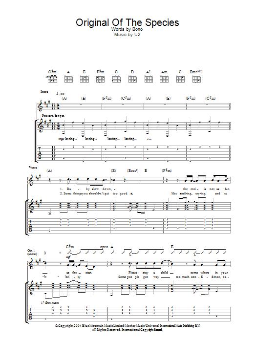 Original Of The Species (Guitar Tab)