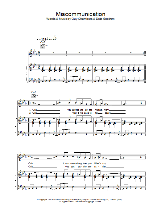 Miscommunication (Piano, Vocal & Guitar)
